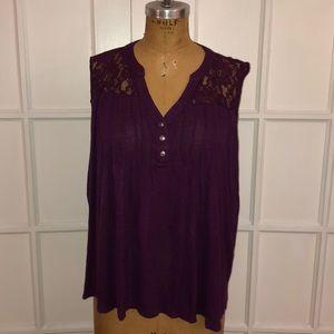 EUC purple lace inset slub knit henley tank 2X